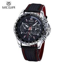 MEGIR 1010 Male Quartz Watch Wristwatch 30m Water Resistant Leather Black B2U0