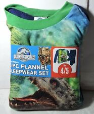 New Boys Jurassic World Dinosaur 2 pc Flannel Pajamas Sleepwear Set Size 4/5