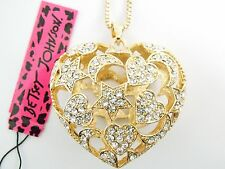 Betsey Johnson Rhinestone Heart-shaped hollow Pendant Necklace #Z48