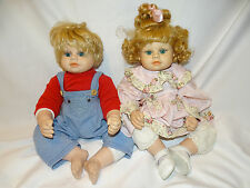 """Heritage Mint BABY DOLLS So Pretty Cloth / Vinyl 20"""" Lot of 2 Boy and Girl"""
