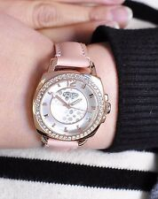 BRAND NEW COACH 14501753 MINI BOYFRIEND PINK LEATHER ROSE GOLD CASE WOMENS WATCH