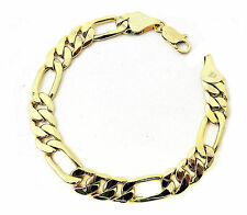 Men's Women's Thick 14k Yellow Gold Finish Figaro Link Bracelet 8.5 Inch 9mm New