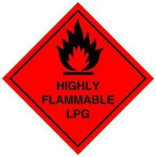 100MM X 100MM   HIGHLY FLAMMABLE LPG STICKER CAMPER  TAXI CARAVAN MOTORHOME LPG
