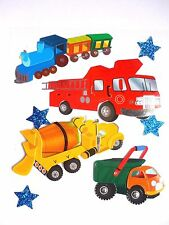 Trucks & Train Cement Truck Fire Engine Dump Truck Locomotive Jolee's 3D Sticker