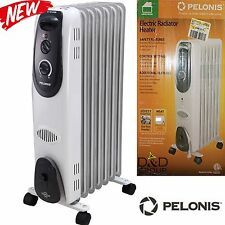 Electric 7 Fin Radiator Portable OIL Space Heater Warming Adjustable Thermostat
