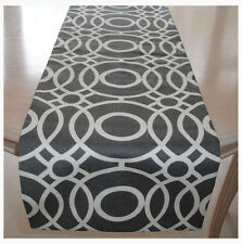 """NEW Table Runner 120cm 4ft Grey and Ivory Cream 48"""" Retro Funky Cotton Tableware"""