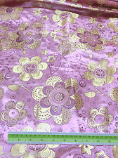 PINK YELLOW FLORAL BROCADE METALLIC FABRIC SARI TABLECLOTH DRESSS DRAPE