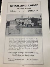 M4-1 Ephemera 1939 Advert Dunoon Dhailling Lodge J Cameron
