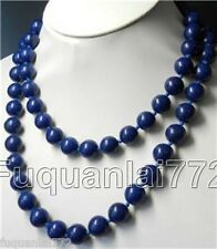 Rare Long Natural 10mm Lapis Lazuli Round Beads Necklace 36'' AAA