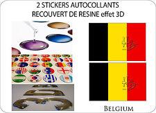 2 X STICKERS RECOUVERT DE RESINE DRAPEAU EFFET 3D 70 mm X 50 mm BELGIQUE