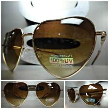 CLASSIC VINTAGE 80's RETRO Style HEART SHAPED Cool SUN GLASSES Unique Gold Frame