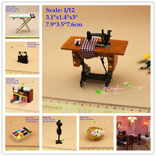 1:12 Dollhouse Miniature Sewing Room Complete Set Sewing Machine Ironing Board