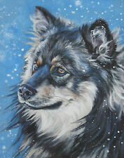 Finnish lapphund portrait dog art CANVAS PRINTof lashepard painting 8x10""
