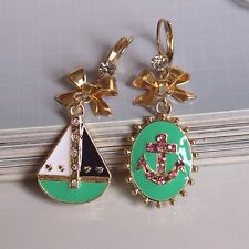 NEW Charm Betsey Johnson Women Anchor Sailing Crystal Gem Alloy Earrings BJEA056