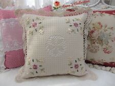 """Shabby~Hand Crochet Ribbon Embroidered Pillow Cushion Cover B~16""""~Beige~Cottage~"""