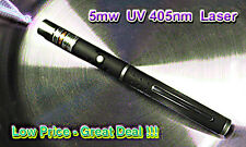 ULTRAVIOLET UV  Laser 5mw 405nm w/2x AAA Duracell Alkaline Batteries -Low Price
