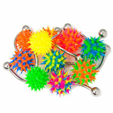 Belly Rings uv Silicone Bottom Balls Multi-Color Assortment lot of 10 14g curved
