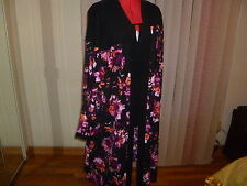 NWT SEJOUR long wide sleeves open front long duster in black+large prints size2X