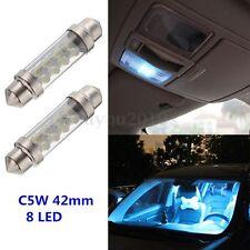 2x C5W 8 SMD LED 12v 42MM Plaque Navette Blanc Ampoule plafonnier PR Voiture #F