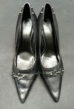 Dorothy Perkins Black Heels Size 6 3 Inch Heel Pointed Toe Buckles Metal  C2422