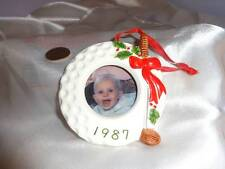 1987 Photo Picture Holder Golf Ball Frame Christmas Tree Ornament
