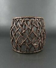 Burnish Copper Cage Look Wide Stretch Bracelet