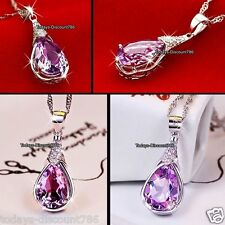 Amethyst Purple Crystal Necklace Silver Valentines Rare Gifts For Her Women Wife