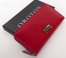 New OROTON Wallet Kiera Multi Pocket Zip Around Large Clutch Red Leather Box
