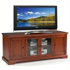 """Entertainment Center Glass Cabinet Leick West Hard 60"""" TV Stand in Cherry"""