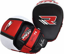 RDX Smartie Leather Focus Pads Hook and Jab Boxing Muay Thai Curved Mitts MMA CA
