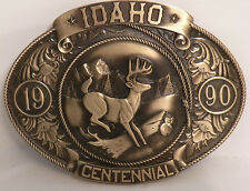 "IDAHO Centenial (1890-1990) Bronze Belt Buckle ""WHITETAIL DEER"" LE# 200 of 5000"