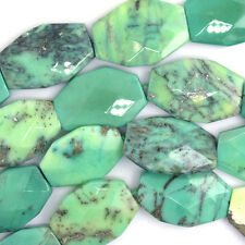 "34-37mm faceted green chrysoprase freeform slab nugget beads 16"" strand"