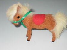Vintage Flocked Fuzzy Horse/Pony Wagner Handwork West Germany Kunstlerschutz Tag