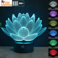 Lotus 3D LED Night Lights Table Desk Touch Lamp 7 Colors decorate room Gifts