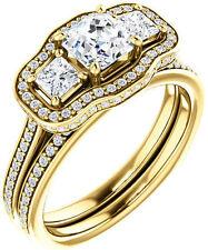 2.15 carat 3 stone Asscher & round DIAMOND Halo Engagement 14k Yellow Gold Ring