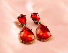 Boucles d`Oreilles Clips Deux Gouttes Rouge Original Soirée Mariage Cadeau C5