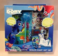 Disney FINDING DORY SEQUIN DIARY GIFT SET FUZZY PEN STICKERS NEMO TOY CRAFT