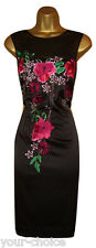 GORGEOUS SATIN EMBROIDERY DESIGN  PENCIL WIGGLE EVENING PARTY DRESS SIZE 14