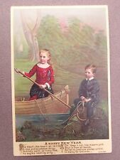 ANTIQUE New Year Greetings Card Little Girl & Boy Rowing Boat Eliza Cook Verse