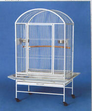 New Large Dome Top Wrought Iron Bird Parrot Macaw Cage 14 White Hammertone-597