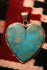 Kingman Turquoise Large Heart Pendant by Richard Jim - Sterling Silver