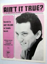 ANDY WILLIAMS Sheet Music AIN'T IT TRUE? Keys Publ. 60's POP VOCAL