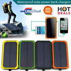 Waterproof Solar Panel Power Bank External Battery Dual-USB Charger Camping lamp