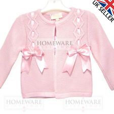 GIRLS BOW CARDIGAN SPANISH STYLE SLOTTED RIBBON BOWS AGES 0-6 M TO 8 YEARS NEW