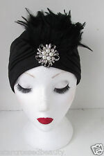 Black Feather Turban Vintage 1920s Pearl Cloche Hat 30s Headpiece Flapper k35