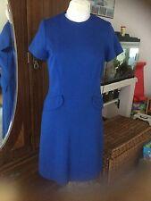 Vintage 60s MOD MOD Blue A-Line Tailored Wool Knit Dress S/M~Exc