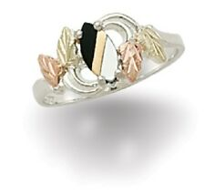 Landstroms Black Hills Gold on Silver Onyx and Mother of Pearl Ring