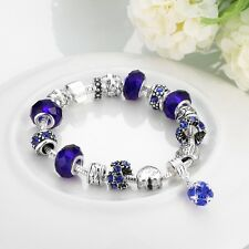 Women 925 Sterling Silver Plated Crystal Colorful Cuff Bangle Bracelet jewelry