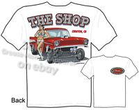 1957 Chevy Gasser T-shirt Drag Racing T Shirts Pin up Girl Tee Sz M L XL 2XL 3XL