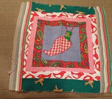 Vintage 14 inch retro quilt square bird snail and paisley theme red and green